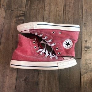 Converse all star high top shoes in pink/red